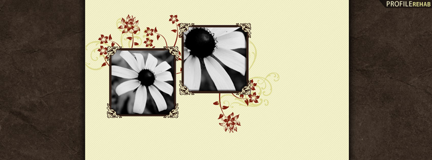 Elegant Black and White Flowers Facebook Cover