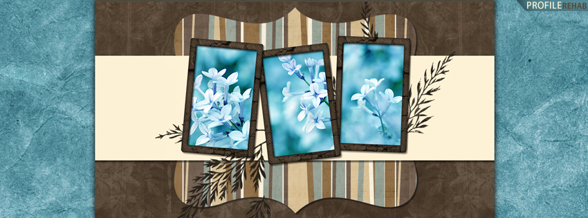 Blue & Brown Flowers Facebook Cover for Timeline