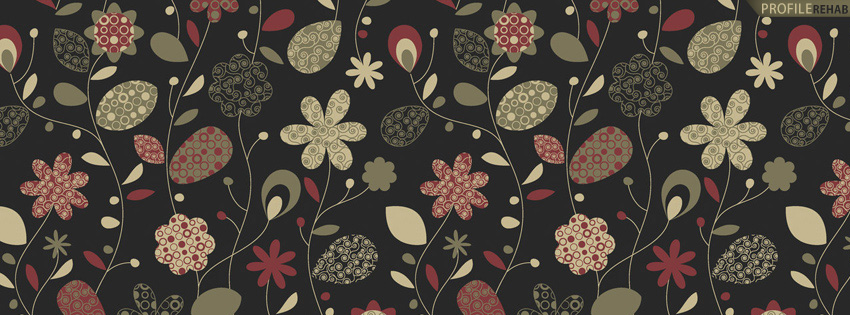 Green & Black Floral Pattern Facebook Cover