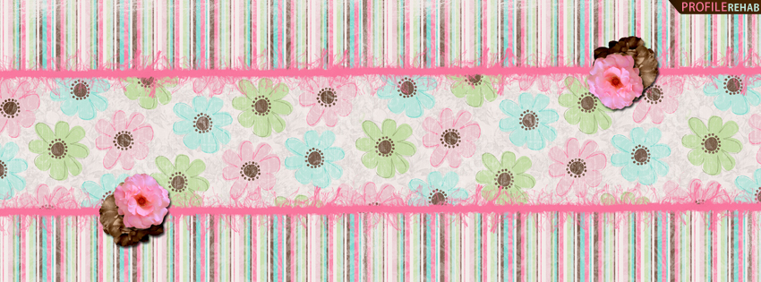 Pink & Brown Striped Facebook Cover - Pink Flowers Timeline Cover Preview