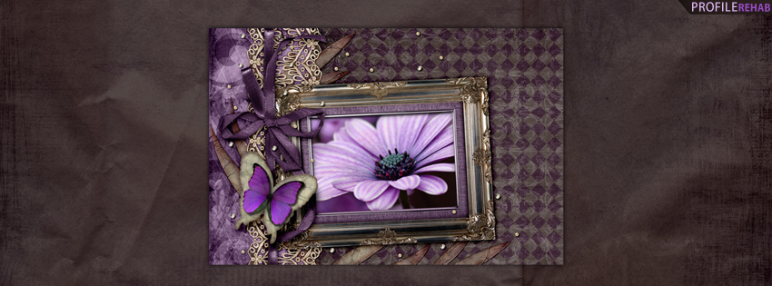 Purple Butterflies and Flowers Facebook Cover