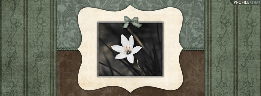 Green & Brown Vintage Flowers Facebook Cover