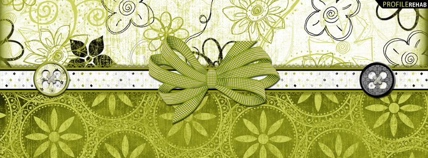 Lime Green & Black Flowery Facebook Cover