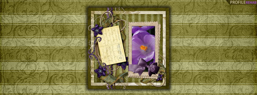 Vintage Green Stripes & Purple Flowers Cover for Timeline Preview
