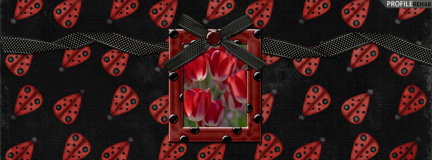 Black & Red Tulips Facebook Cover with Ladybugs