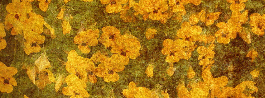 Yellow Vintage Flower Facebook Cover