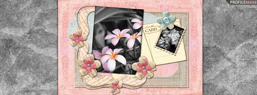 Pink Vintage Flowers Facebook Cover for Timeline