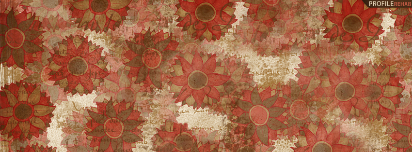 Red & Brown Vintage Flowers Facebook Cover