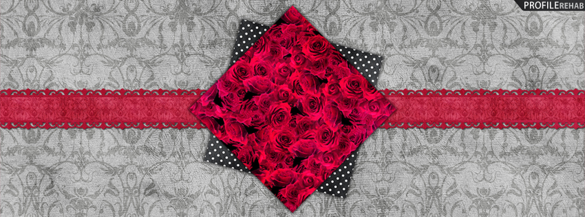 Red & Gray Vintage Roses Cover for Timeline