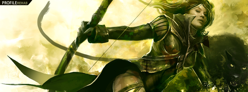 Guild Wars Girl Ranger Facebook Cover
