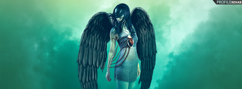 Dark Angel Girl with Wings Cover for Facebook