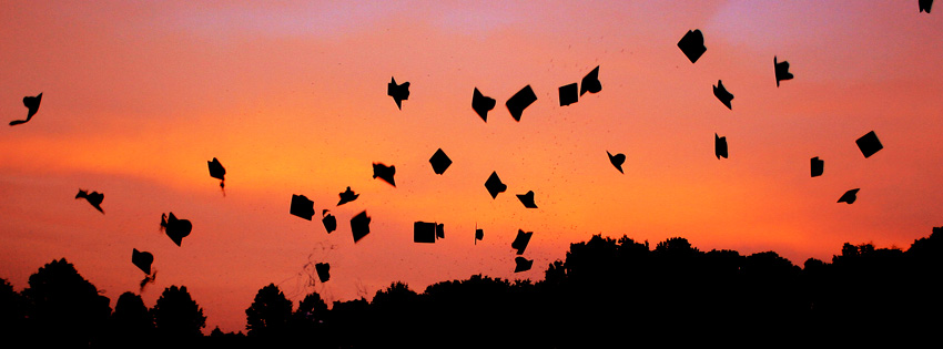 Graduation Hats Flying In Sunset Facebook Cover