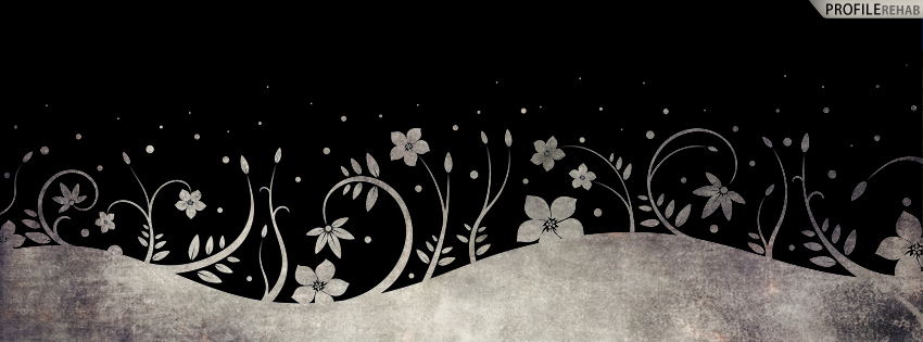 Black White Grunge Flower Pattern Cover