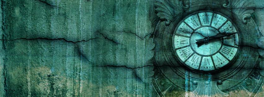 Blue Grunge Clock Facebook Cover