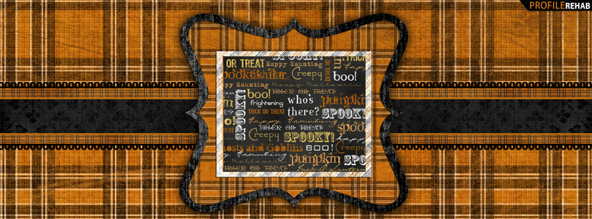 Plaid Halloween Words Facebook Cover - Haloween Pictures of Halloween Sayings Preview