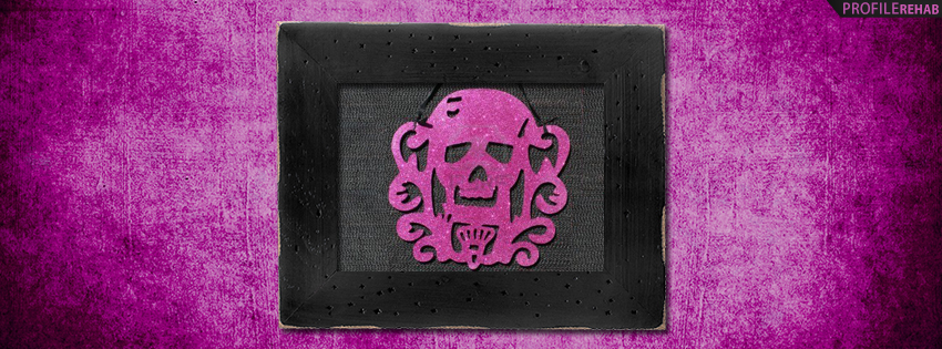 Black and Hot Pink Skull Facebook Cover - Cute Skull Pictures - Pink Skull Images