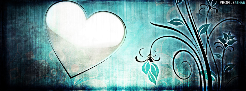 Blue Grunge Heart Facebook Cover