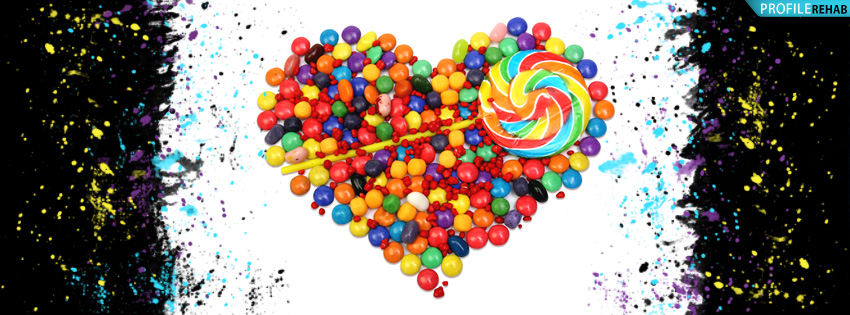 Candy Heart Splatter Facebook Cover - Cute Valentines Day Pictures for Facebook