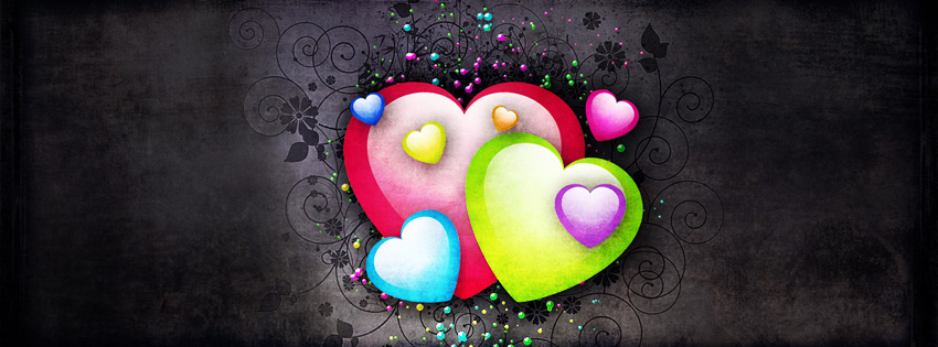 Grunge Colorful Hearts Facebook Cover - Valentine Day Images Download