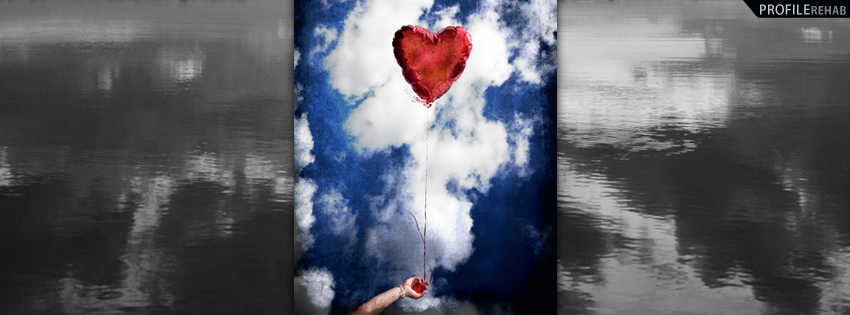 Heart Balloon in Clouds Facebook Cover - Heart Balloons Images