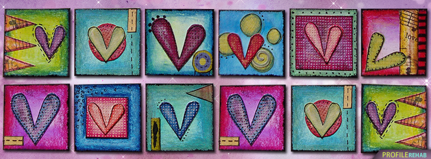 Colorful Heart Facebook Covers - Cute Heart Drawings
