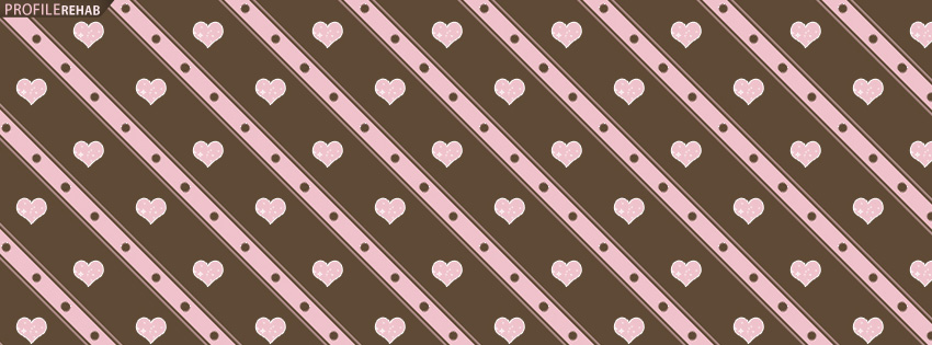 Brown & Pink Glitter Hearts Facebook Cover - Best Valentine Photos for Facebook