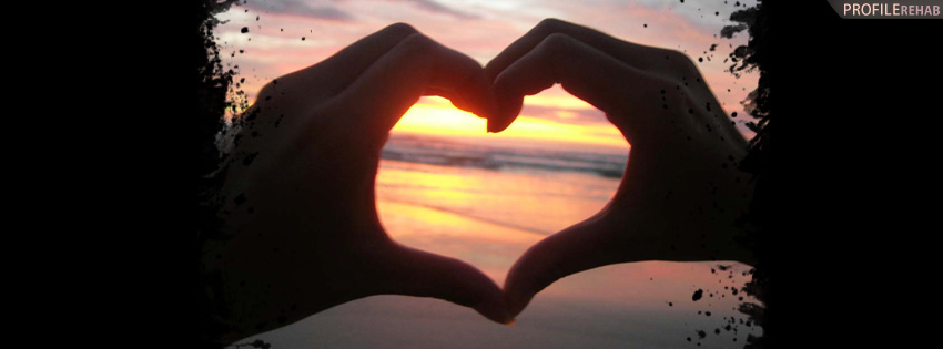 Heart Hands in Sunset Facebook Cover - Heart Shaped Hands