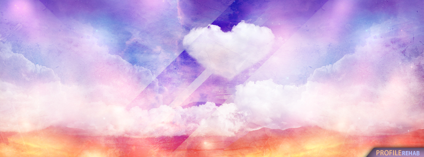 Rainbow Heart Cloud Facebook Cover - Valentines Pics