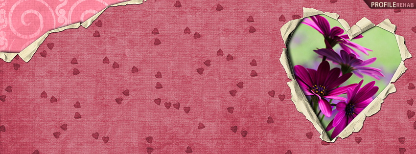 Maroon Hearts and Daisies Facebook Cover - Cute Image of Heart