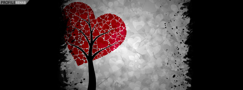 Red & Gray Heart Tree Facebook Cover - Valentines Free Images Preview