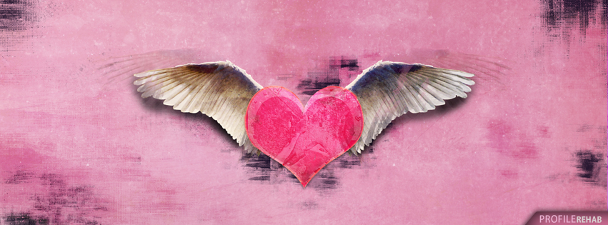 Grunge Wings and Heart Facebook Covers - Cool Heart Photo