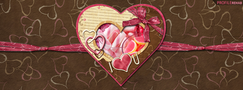 I love You Hearts and Candy Facebook Cover - Valentines Love Quotes for Valentine Day