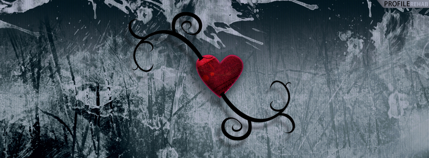 Grunge Ice Heart Facebook Cover