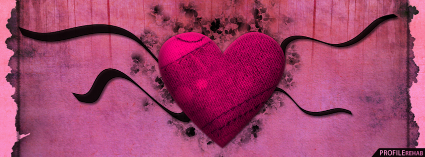 Black and Pink Heart Facebook Cover - Valentines Day Heart Images for Facebook