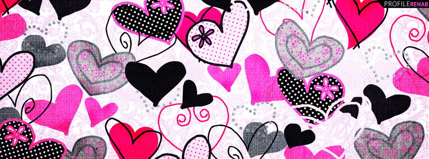 Black & Pink Hearts Cover for Facebook Timeline
