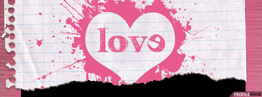 Pink Love Paper Heart Facebook Cover - Cute Valentine Images of Love