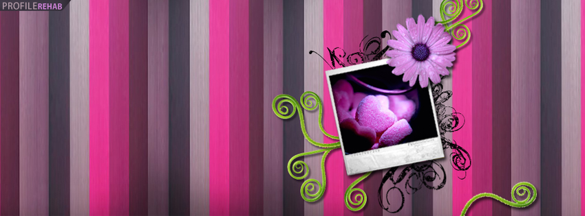 Pink & Purple Striped Heart Facebook Cover - Valentine Candy Hearts Pictures