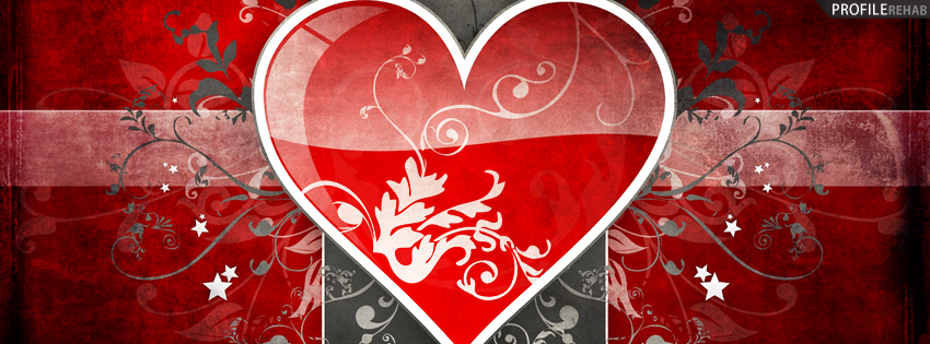 Gray & Red Heart Facebook Timeline Cover
