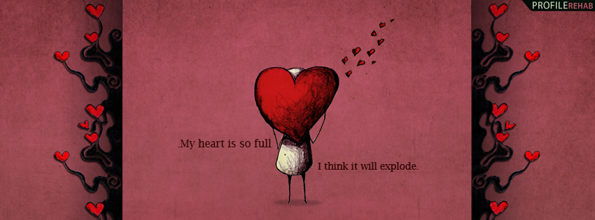 Black & Red Heart Quote Facebook Cover - Quotes for Valentines Day