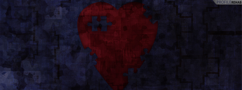 Red Heart Puzzle Timeline Cover for Facebook - Picture of Broken Heart Preview