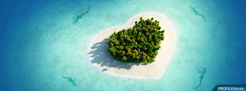 Sharks Circling Heart Island Facebook Cover - Heart Photos