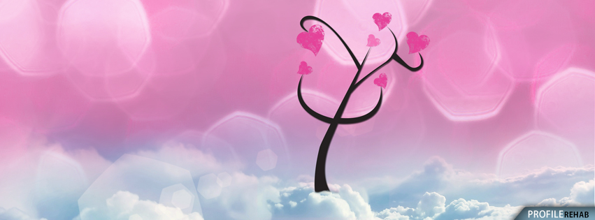 Tree Growing Hearts in Clouds Facebook Cover - Cute Valentine Graphics