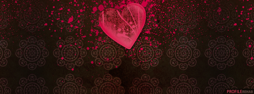 Hot Pink Vintage Heart Facebook Cover - Vintage Valentine Images