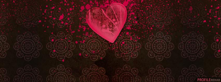 Hot Pink Vintage Heart Facebook Cover - Vintage Valentine Images