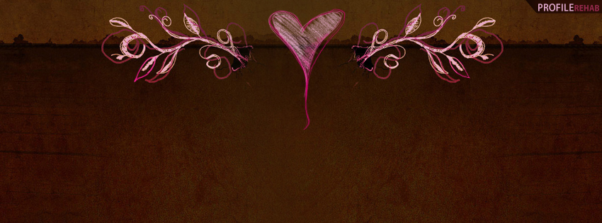 Pink and Brown Vintage Heart Facebook Cover