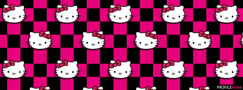 Pink And Black Hello Kitty Checkers Facebook Cover