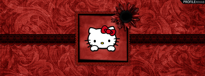 Red & Black Hello Kitty Facebook Cover
