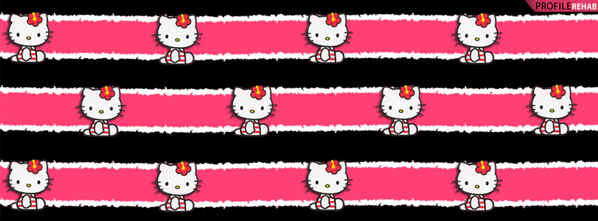 Black & Pink Hello Kitty Pattern Facebook Cover