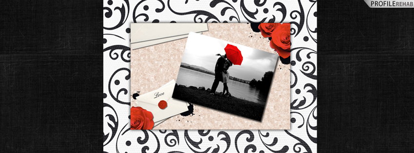 Black & White Love Timeline Cover with Red Roses - Romantic Love Images