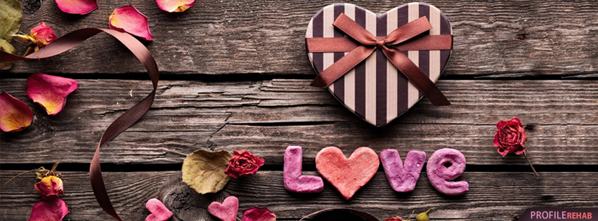 Brown and Red Love Facebook Cover - Love Heart Pictures